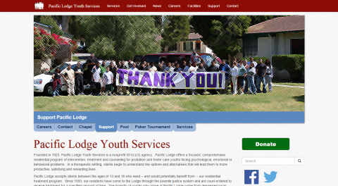 Pacific Lodge Prototype Site Homepage